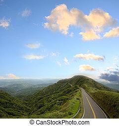 azul, estrada, céu, verde
