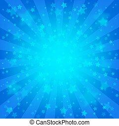 azul, estrelado, luminoso, fundo