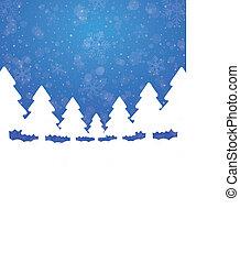 azul, estrelas, árvore, neve, fundo, branca