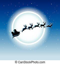 azul, estrellado, encima, cielo, ilustración, vector, reindeers, santa, noche