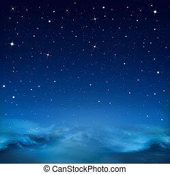 azul, estrellado, resumen, cielo, plano de fondo