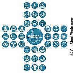 azul, exame médico saúde, cuidado, ícone, cobrança