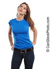 azul, excitado, camisa, femininas, em branco