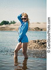 azul, excitado, menina, camisa