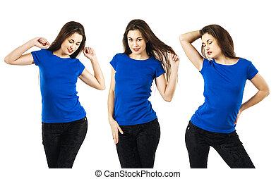 azul, excitado, mulher, camisa, em branco