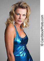 azul, excitado, mulher, vestido