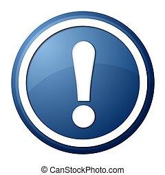 azul, exclamación, botón, punto