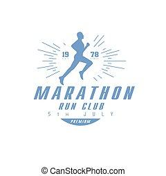 azul, executando, desenho, maratona, etiqueta