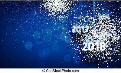 azul, experiência., 2018, ano, novo, brilhar