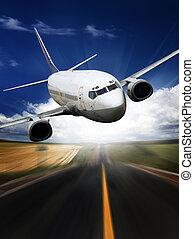 azul, experiência., avião, céu