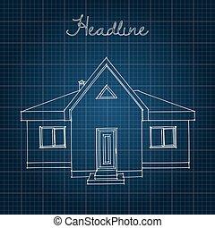azul, experiência., desenho, lar
