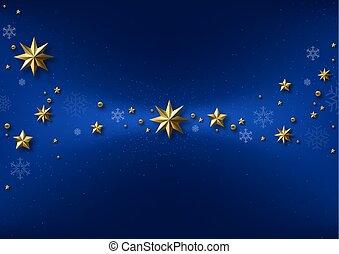 azul, experiência dourada, estrelas, natal