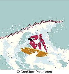 azul, experiência., surfing., isolado, homem negócios