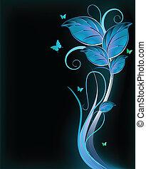 azul, experiência., vetorial, pretas, floral