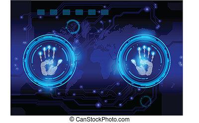 azul, exploración, mano, fondo., impresión, tecnología