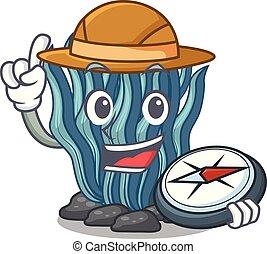 azul, explorador, agua, alga, mar, debajo, caricatura