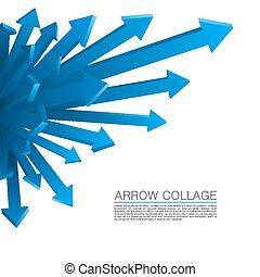 azul, explosão, seta