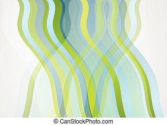 azul, Extracto, ondulado, verde, diseño, mínimo