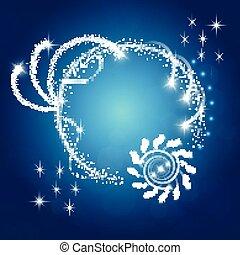 azul, faíscas, fundo, estrelas