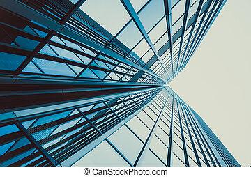 azul, facade., modernos, escritório, arranha-céu, silhouet, ...