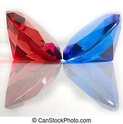azul, faceted, piedras preciosas, rojo