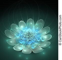 azul, fantástico, flor, ilustração, luminoso, fractal