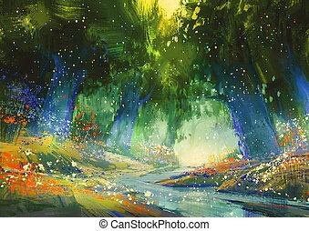 azul, fantasía, místico, bosque verde, atmósfera