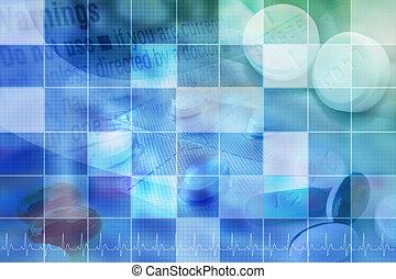 azul, farmacêutico, pílula, fundo, com, grade