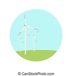 azul, fazenda, energia, turbinas, cor, verde, vento, ícone