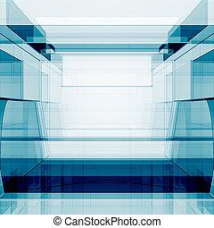 azul, fazendo, transparente, 3d