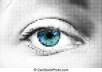 azul, feito, olho, dots., abstratos, vetorial, mulher