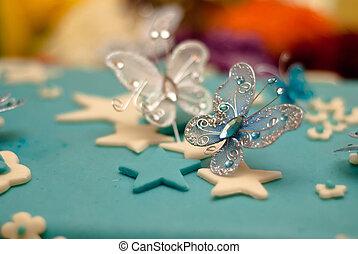 azul, feliz cumpleaños, pastel, con, bebé