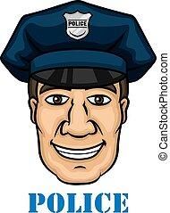 azul, feliz, policia, uniforme