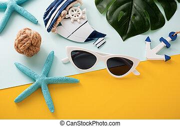 azul, feriado verão, fundo, amarela