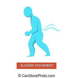 azul, figura, doença, slowed, homem, sintoma, movimentos