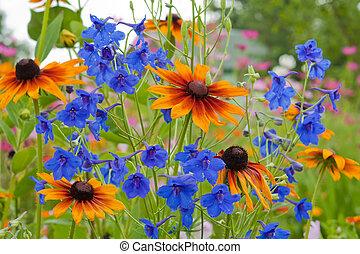 azul, fim, flor, cima, sino