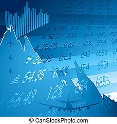 azul, financiero, choque