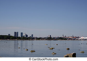 azul, finland., estonia., golfo, ensolarado, céu claro, skyline, day., tallinn, mar, vista