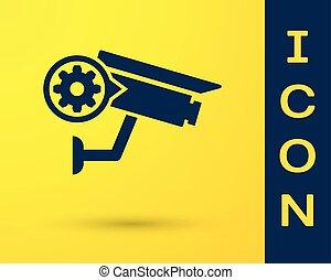 azul, fixing., engrenagem, serviço, conceito, câmera, ajustar, armando, isolado, amarela, experiência., vetorial, ilustração, manutenção, segurança, app, opções, reparar, ícone