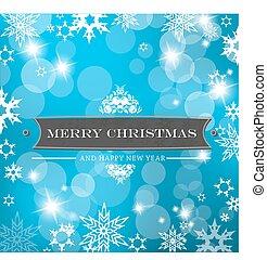 azul, flakes., neve, fundo, natal