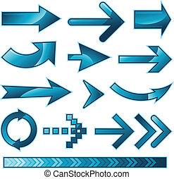 azul, flecha, colección, señal