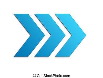 azul, flechas