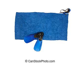 azul, flippers, tiro, máscara, isolado, snorkeling, toalha, mentindo