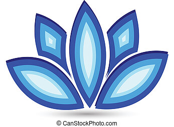 azul, flor lotus, vetorial, logotipo