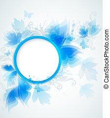 azul, floral, abstratos, fundo