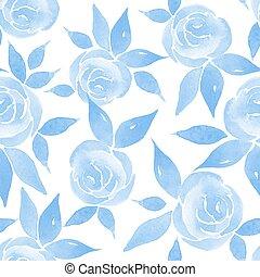 azul, floral, delicado, seamless, padrão
