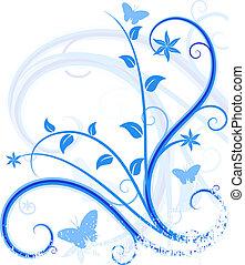 azul, floral, fondo.