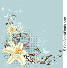azul, floral, lirio, plano de fondo