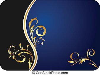 azul, floral, negócio ilustração, cartão