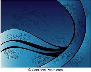 azul, floral, ornamento